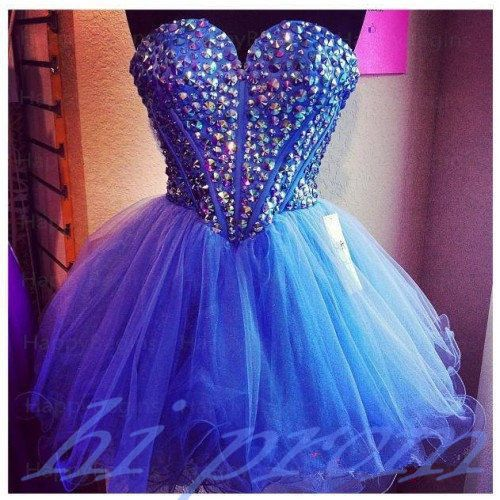 Royal Blue Homecoming Dress,Short Prom Dresses,Tulle Homecoming Gowns,Fitted Party Dress,Beading Prom Dresses,Sparkly Cocktail Dress,Corset Homecoming Gown