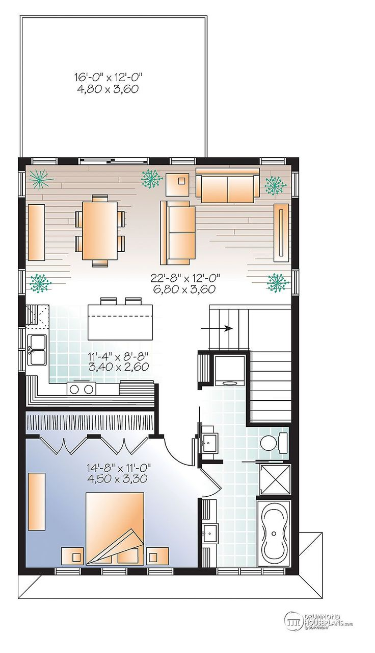 4418 best my little rooms ideas images on pinterest small houses w3954 v2 contemporary style garage apartment house plan with open floor plan large terrace and full apartement