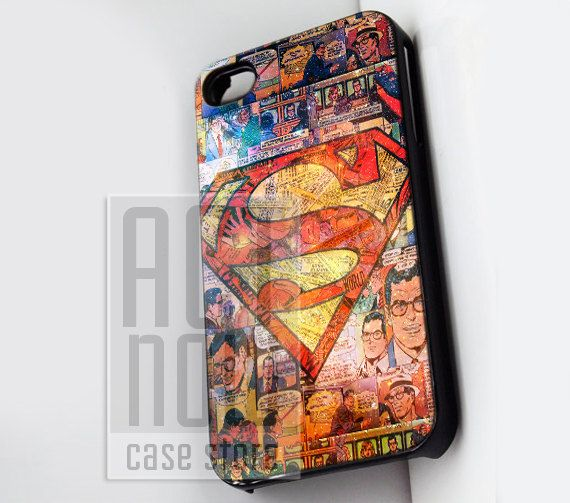Superman Glitter Comic Logo - for case iPhone 4/4s/5/5c/5s-Samsung Galaxy S2 i9100/S3/S4/Note 3-iPod 2/4/5-Htc one-Htc One X-BB Z10