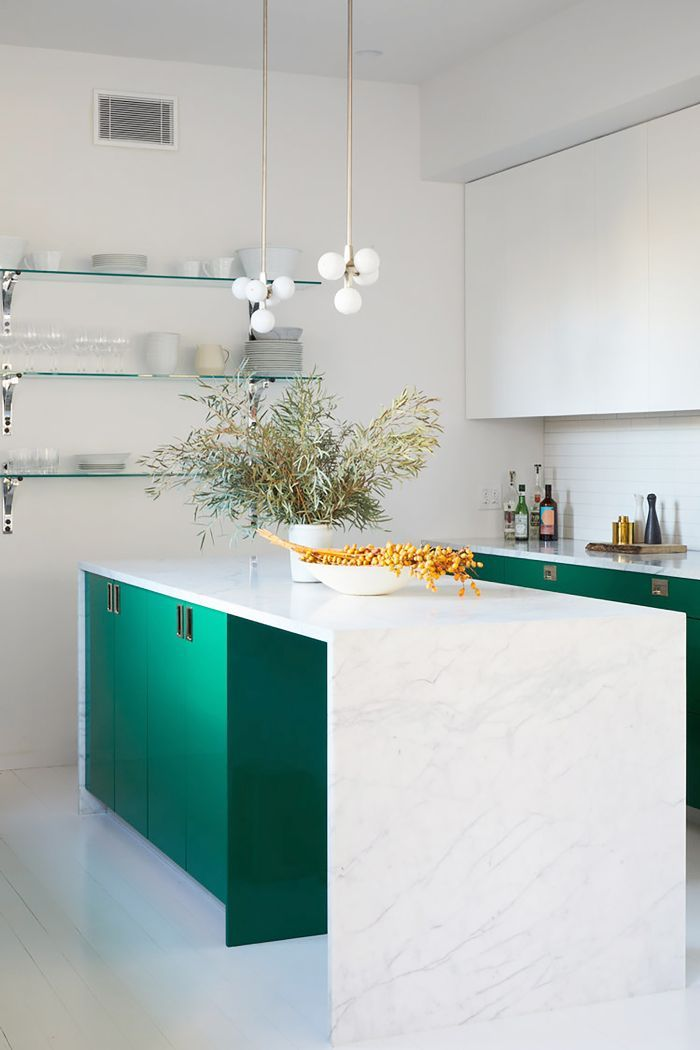 20 Modern Kitchen Ideas To Give Your Space A New Lease On Life Green Kitchen Decor Waterfall Countertop Decor