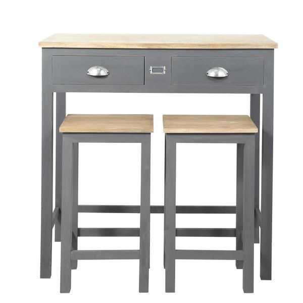 Wooden tall dining table + 2 ... - Chablis