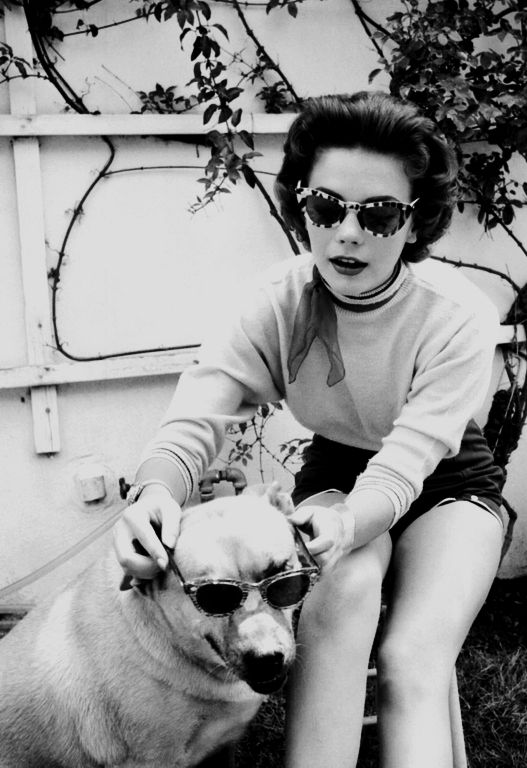 Natalie Wood with her dog- wearing glasses