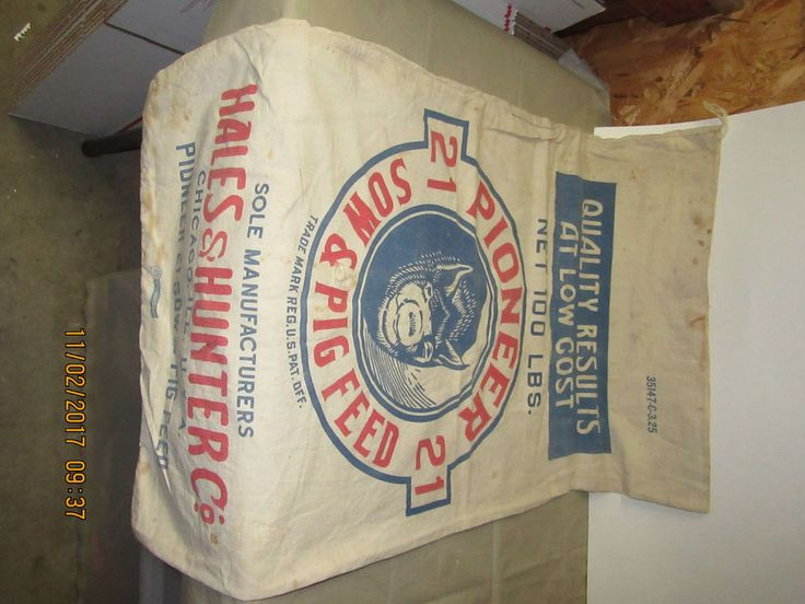 RARE PIONEER 21 100LB SOW & PIG FEED MUSLIN FEED SACK     eBay