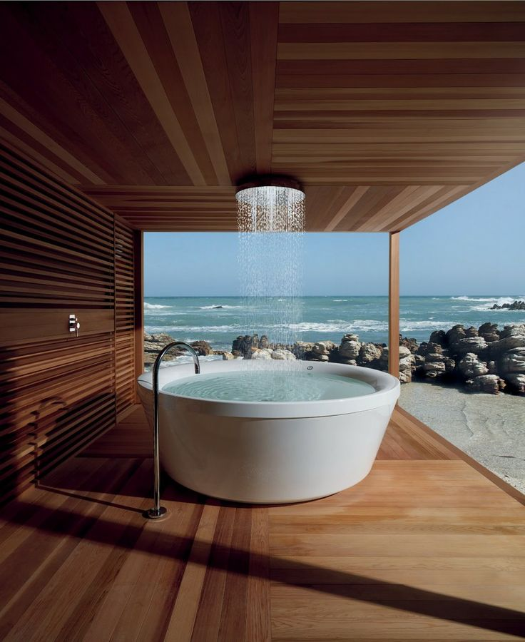 cool wallpaper Tropical Modern Bathroom Layout With Open Beach Skylight And Round Deep Bathtubs With Nickel Floor Faucet