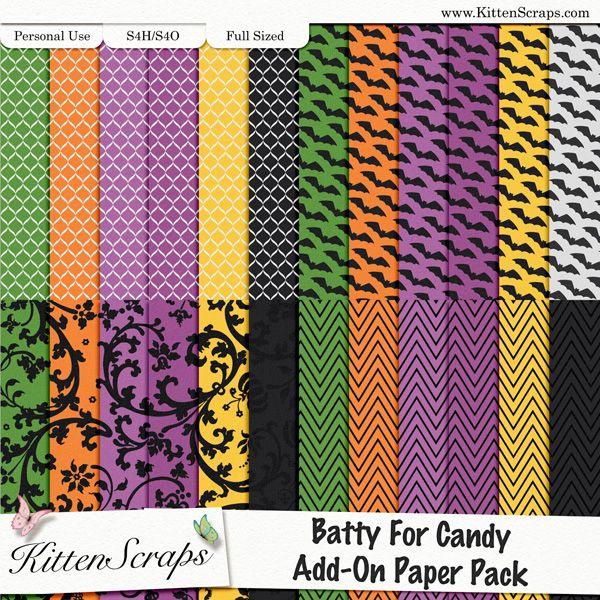 Batty 4 Candy Add-On Papers [KittenScraps, Digital Scrapbooking, Halloween