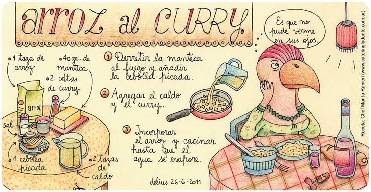 http://delicionesdelius.blogspot.com/: Meals, Illustrations Recetas De, Recetas Ilustradas, Arroz Al Curries, Illustrations Recipes, Ilustracion Recetas, Recipes Illustrations Recetas, Al Curry, Cooking Recipes