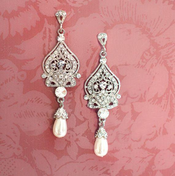 1920s Earrings, Bridal Pearl Earrings, Pearl Chandelier Earrings, Wedding Earrings, Vintage Inspired, Hollywood Glamour Earrings  - Alisa
