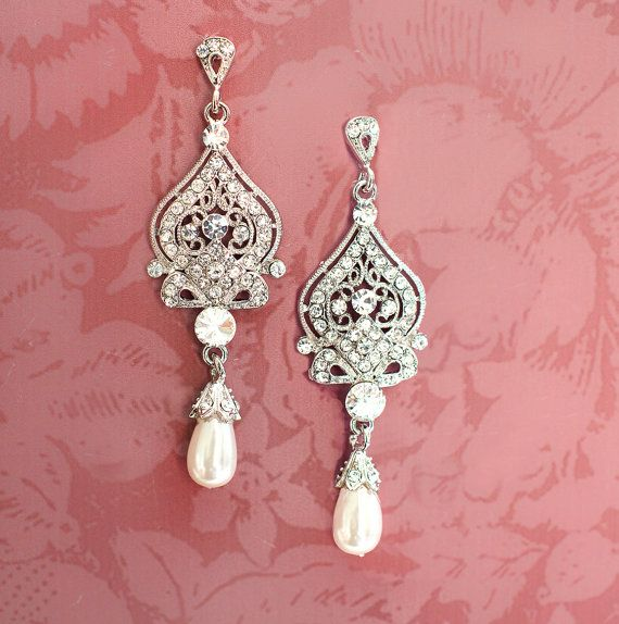 1920s Earrings, Bridal Pearl Earrings, Pearl Chandelier Earrings, Downton Abbey…