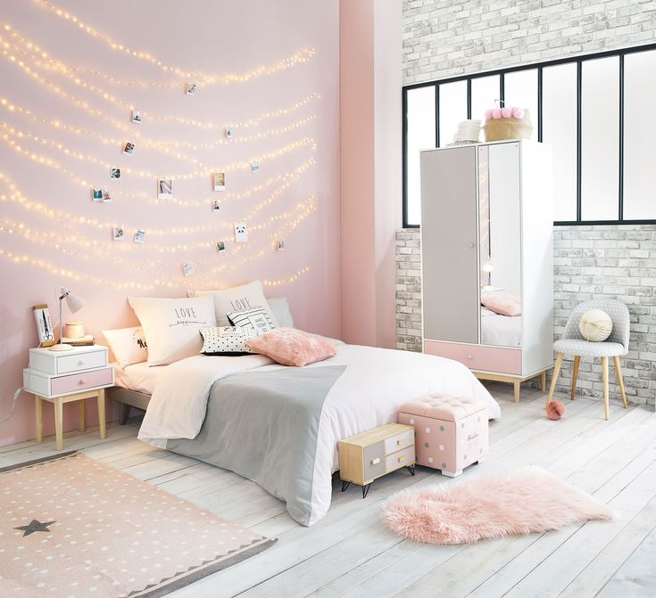 Pink, white and grey girl's bedroom   Maisons du Monde