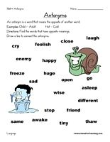 Antonyms Worksheet: Find the words that have opposite meanings. Draw a line to connect the antonyms