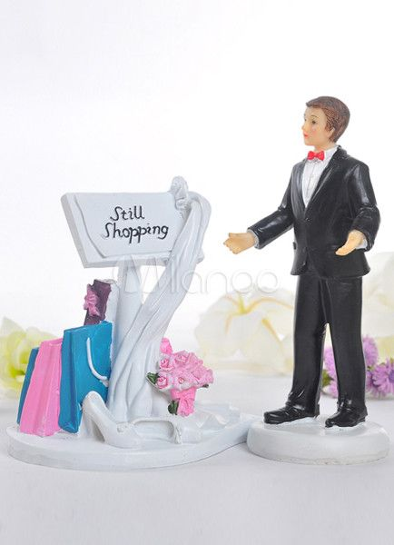 Bride Still Shopping Resin Wedding Cake Topper - Milanoo.com