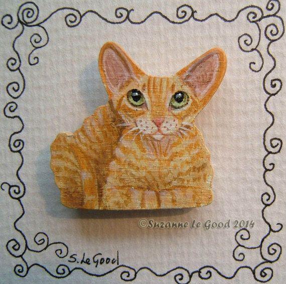 Original Red Tabby Devon Rex Cat Painting Brooch Pin By Suzanne Le Good Devon Rex Cats Cat Art Rex Cat