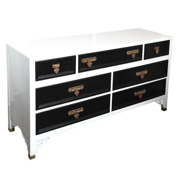 Exceptional Hollywood Glam Oriental Lacquered Dresser