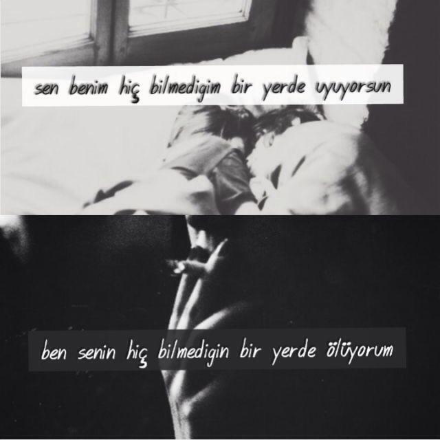 Sen benim hiç bilmediğim bir yerde uyuyorsun. Ben senin hiç bilmediğin bir yerde ölüyorum.  - Cem Adrian