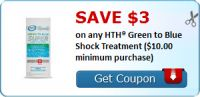 Save $3.00 on any HTH® Green to Blue Shock Treatment ($10.00 minimum purchase) : #Uncategorized Check it out here!!
