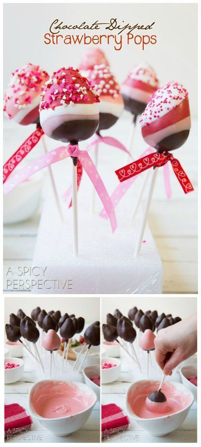 Fun and Easy Chocolate Dipped Strawberry Pops for Valentines Day!
