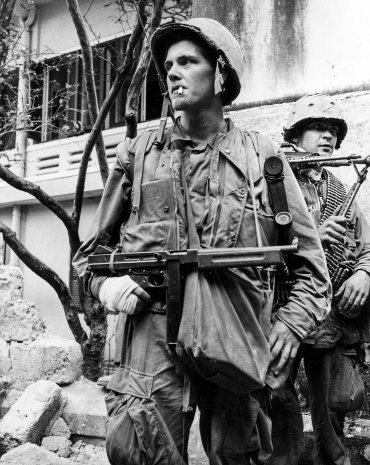 Lance Corporal C.D. Bradford, a New Jersey native from Longbranch, hefts a Thompson sub-machine gun with its stock removed during the battle for Hue City. He was a radio operator for Golf Company, 2nd Battalion, 5th Marines during the fighting. The photo was taken on February 5, 1968.