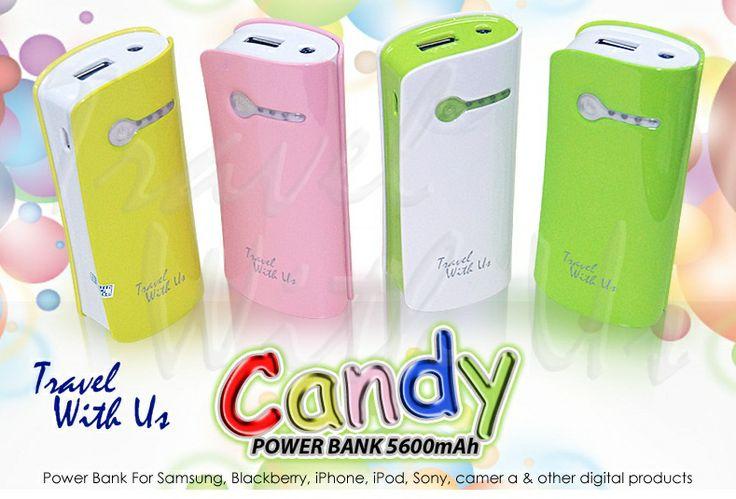 PowerBank Candy 5.600mAh, Only Rp 225.000,- *not include shipping cost  - Design yang praktis, mudah dibawa. Tersedia dalam pilihan warna yang menarik. - Output USB 5V/1,0A untuk pengisian ulang berbagai device: handphone/smartphone, blackBerry, iPhone, iPod, camer pocket, PSP dll. Input charging berupa micro USB - 4 lampu LED sebagai lampu indikator kapasitas battery & saat digunakan - 1 lampu LED yang dapat digunakan sebagai lampu darurat ( tekan dua kali tombol power (on/off) - 2in1 cable…