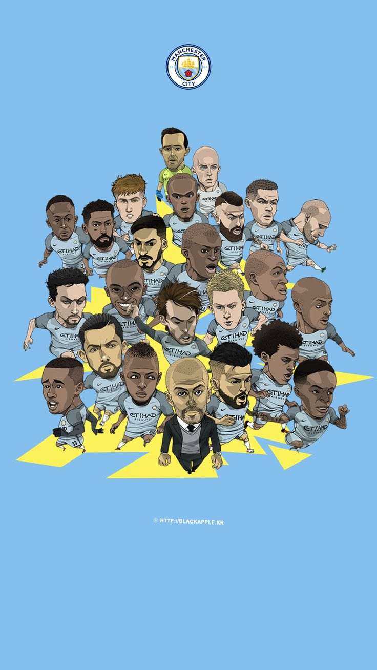 Manchester City Full Squad Fan Art for Mobile Wallpaper