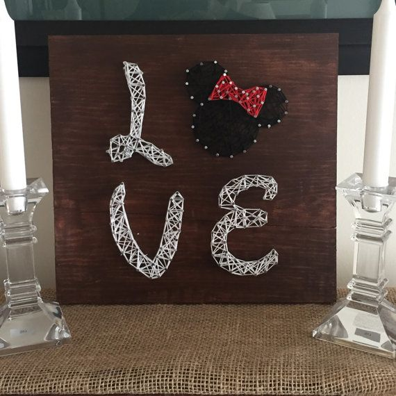 String Art LOVE Minnie mouse wall decoration custom order by CraftsByMaritza String Art www.etsy.com/shop/craftsbymaritza