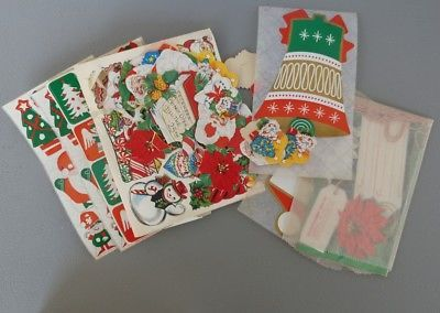 Lot of Vintage Christmas Stickers Variety Bells Trees Santa Gingerbread Snowman