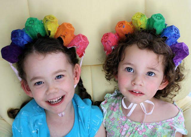 Having Fun at Home: Rainbow Hats from Egg Cartons