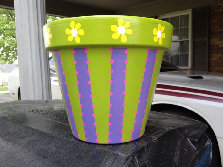 Spring painted flower pot