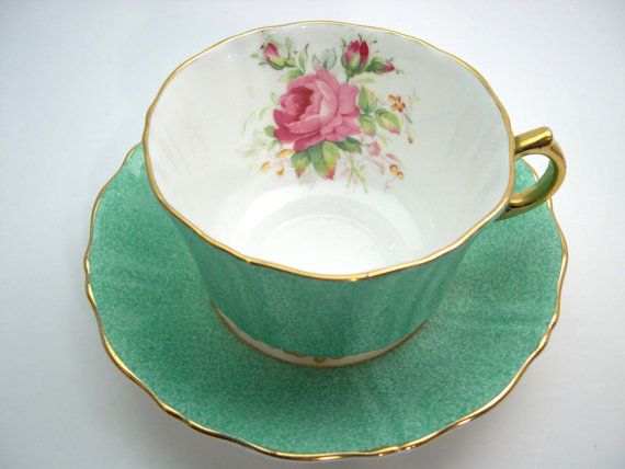 Green tea cup and saucer made by Old Royal, Sampson Smith, England