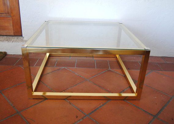 Vintage Hollywood Regency Brass Finish Gold Metal and Glass Square Modern Coffee Table
