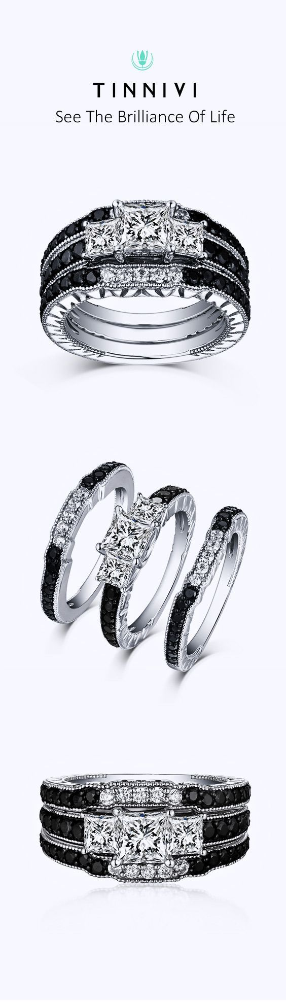 Shop Tinnivi Sterling Sliver Black Diamond Channel 3PC 3 Stone Wedding Ring Set online, Tinnivi Jewelry creates quality fine jewelry at gorgeous prices. Shop now!