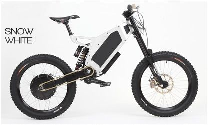 """The """" Bomber"""" Stealth Electric Bikes USA. Stealth Bomber - 50 Mph - 9 Speed Sequential Gear Box - 4.5kW Direct Drive Brushless DC Hub Motor - Duro Razorbacks Tires - 6-Piston Front/Back Brakes (Snow White)  They even have off road versions, only one problem, they cost 10 grand"""