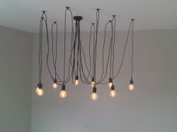 Spider Pendant Various length of cords (this picture illustrates 10 x 2m lengths) E27 Lampholders