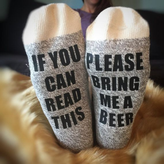 If you can read this, please bring me a beer! Face it- we all have long days that leave us laying back with our feet kicked up. You want that beer, but ITS ALL THE WAY OVER THERE. Finally a solution. These socks serve as an announcement to any passer-bys. A flare signal for assistance. These socks will be perfect for men and women alike! Dads, moms, your husband, wife, and men & women in general. They make perfect Christmas gifts for all of the beer lovers you know. Give them a gift theyll…