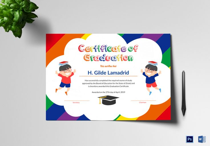 Pre School Graduation Certificate Template  $9.99  Formats Included : MS Word, Photoshop  File Size : 11.69x8.26 Inchs #Certificates @Certificatedesigns #educationcertificates
