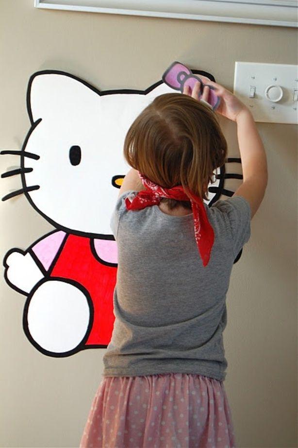 activiteit verjaardag: strik op hello kitty prikken (idee via pinterest)