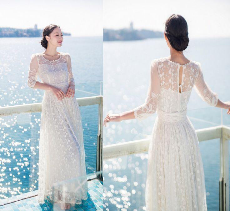 Women Whrite wedding party long bohemian dress vacation travel summer lace hollow out vestidos de fiesta chiffon casual dress