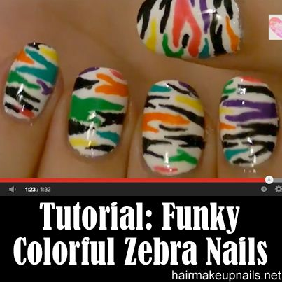 Funky Colorful Zebra Nail Art Tutorial ►► http://www.hairmakeupnails.net/funky-colorful-zebra-nail-art-tutorial/?i=p