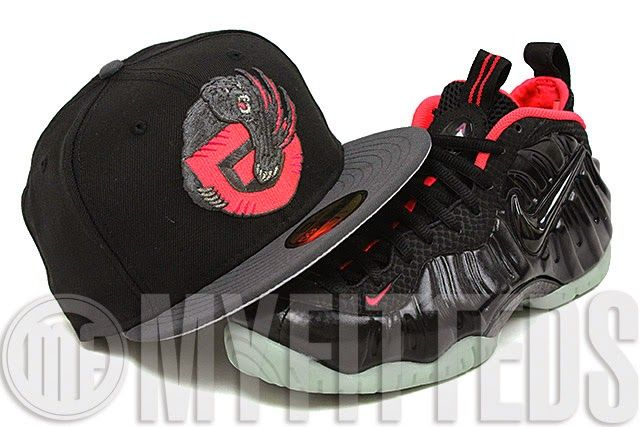 """KIX & LIDZ: New Era 59FIFTY: Vancouver Grizzlies - Jet Black/Carbon Graphite...Presenting the new Vancouver Grizzlies New Era Fitted Cap for the Air Foamposite Yeezy AKA Yeezy Foams. The cap is featured in a solid jet black and carbon graphite 2 tone construction with the Grizzlies """"G"""" logo on the front color coordinated with infrared bliss details. The rear features the same logo color coordinated as per the NBA. You can purchase this fitted exclusively at Myfitteds.com."""