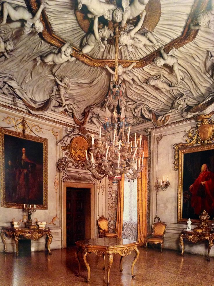 The square ball room with the magnificent stucco ceiling and 28 putti holding a large pleated veil, realized by Abbondio Stazio at the end of XVII century, al Palazzo Albrizzi in S. Apollinare, in Venice.