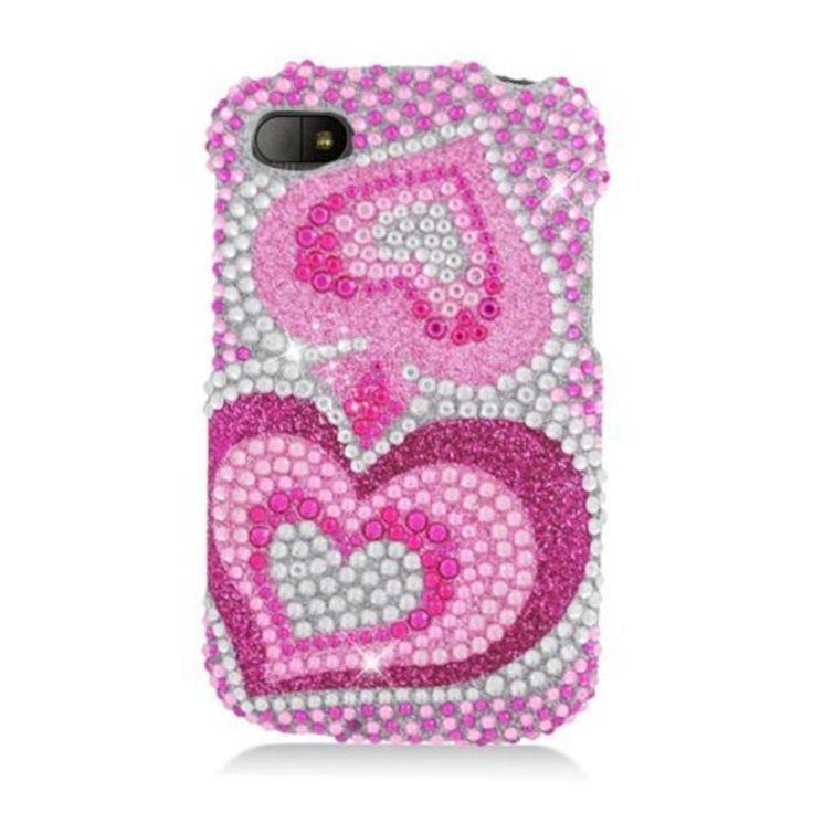 Insten Hot Hearts Hard Snap-on Rhinestone Bling Case Cover For BlackBerry Q10