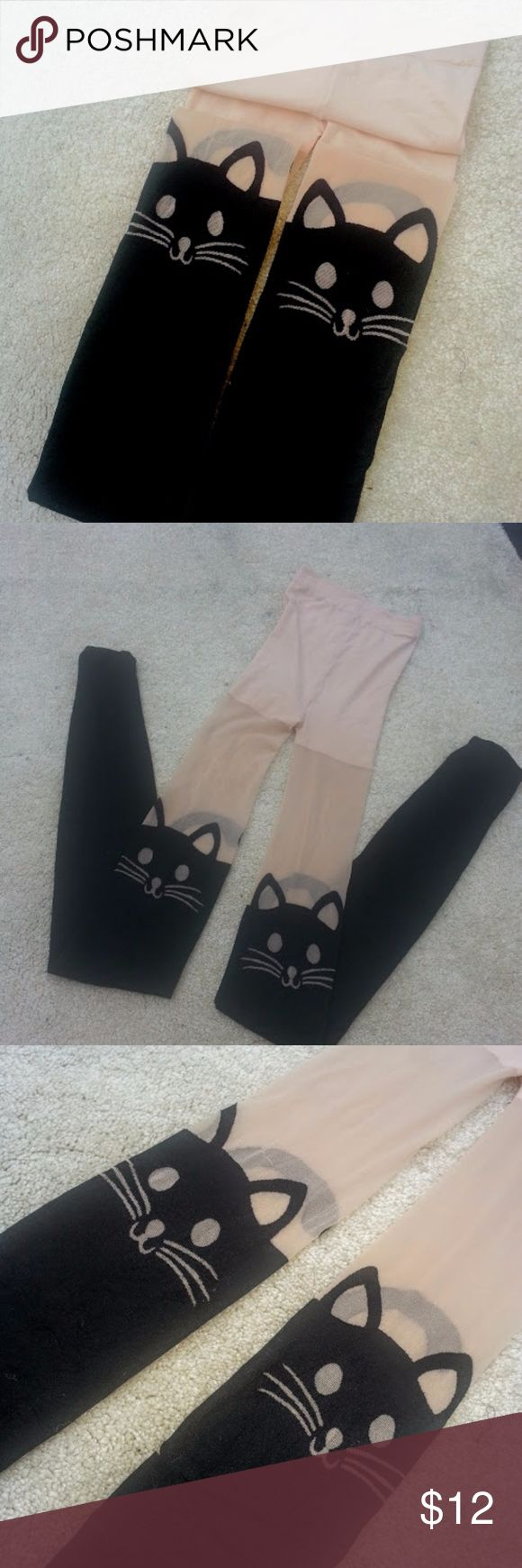 Kitty tights Can you say adorbs?? :)  These are the cutest tights I've ever seen!! The kitty face hits above the knee, about mid thigh, depending on how tall you are, so these would look great peeking over the top of a pair of knee high boots. From the back you can see kittys tail! So cute!! NWOT. Fit wise, these are good for someone who is med height, med to smallish size. Tall but thin would work too.  I'd guess size 0-6, 8 max (if you are shorter). Accessories Hosiery & Socks