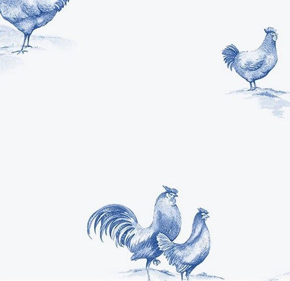 Blue Rooster Wallpaper Old Country Farmhouse Kitchen Chicken Farm Animal Toile Vintage French Cottage Home Decor By The Yard Ke29932so Chicken Wallpaper Norwall Nook Decor
