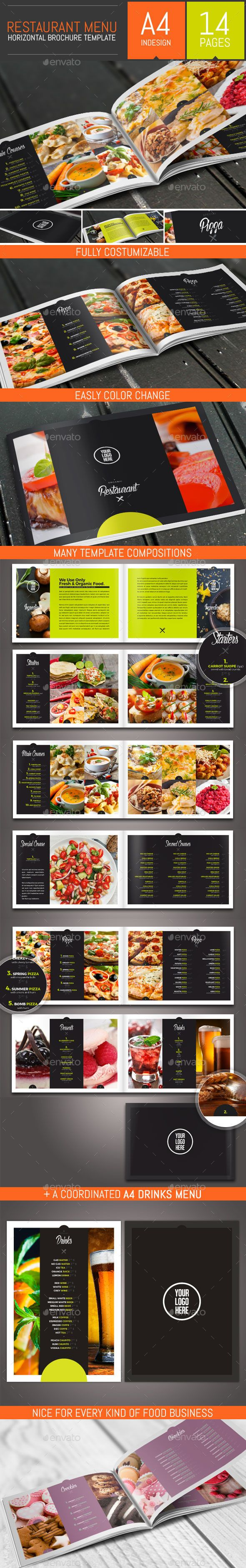 Food Restaurant Menu Brochure / BiFold Template — JPG Image #restaurant #wine • Available here → https://graphicriver.net/item/food-restaurant-menu-brochure-bifold-template/13161264?ref=pxcr