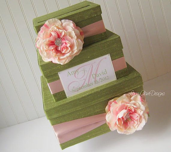Peridot and Blush Silk Wedding Card Box by www.laceyclairedesigns.etsy.com