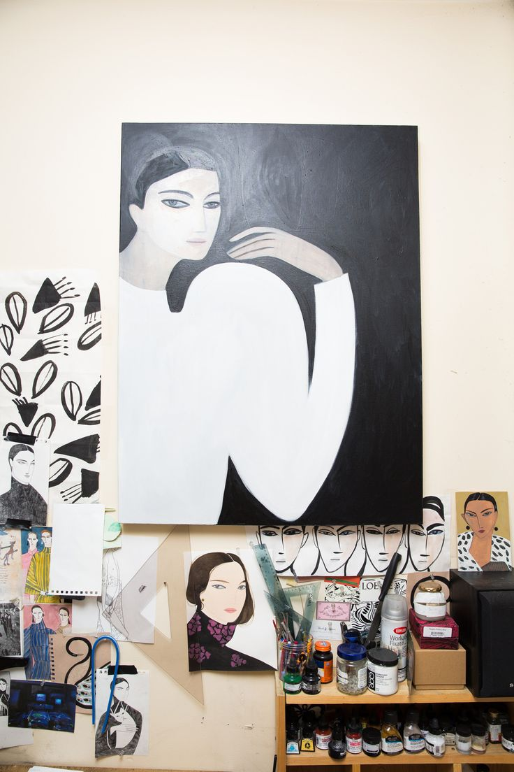 Artist Kelly Beeman Talks Marie Claire Italia, Jonathan Anderson, and More: Black and White Abstract Portrait | coveteur.com