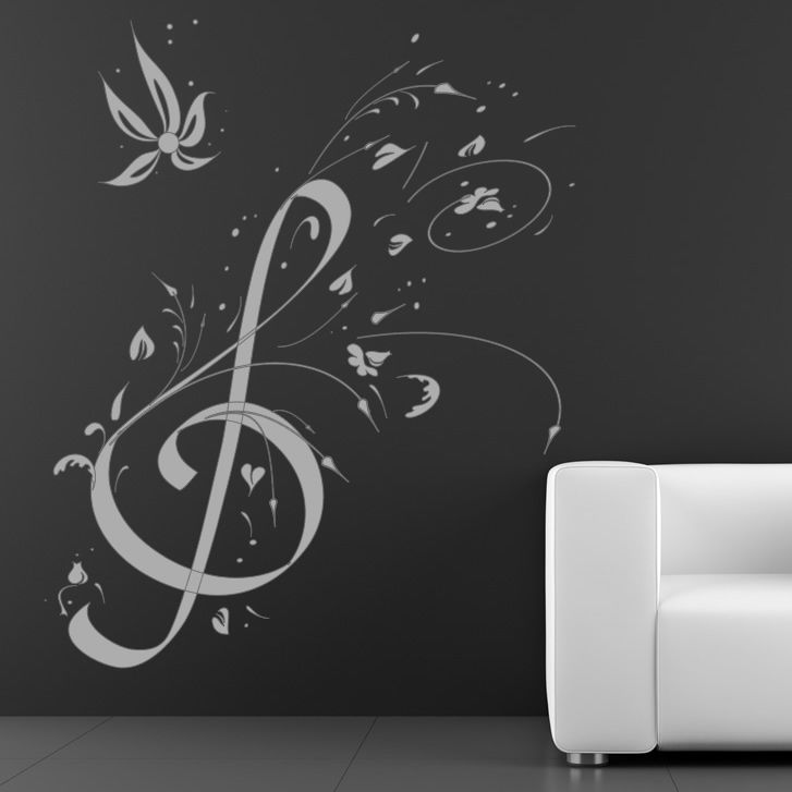 Floral Music Note Music Wall Art Decals Wall Stickers Transfers | eBay