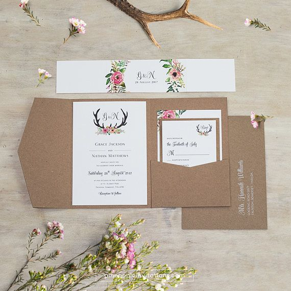 Eco Kraft Pocketfold Floral Antler I Wedding Invitation