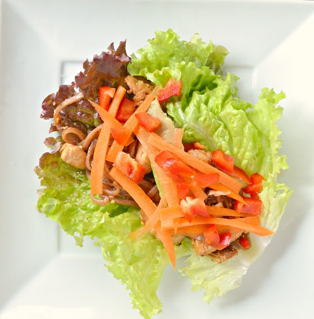 Chicken Lettuce Wraps With Stir-Fry Rice Noodles perfect for Chinese ...