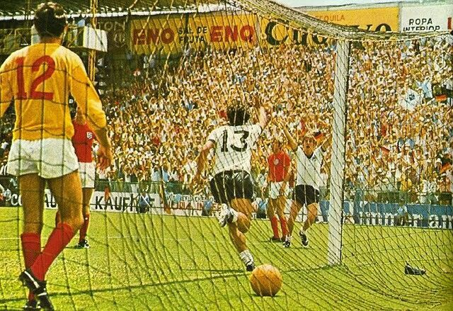 West Germany 3 England 2 in 1970 in Leon. Gerd Muller runs off after scoring the winner in the World Cup Quarter Final.
