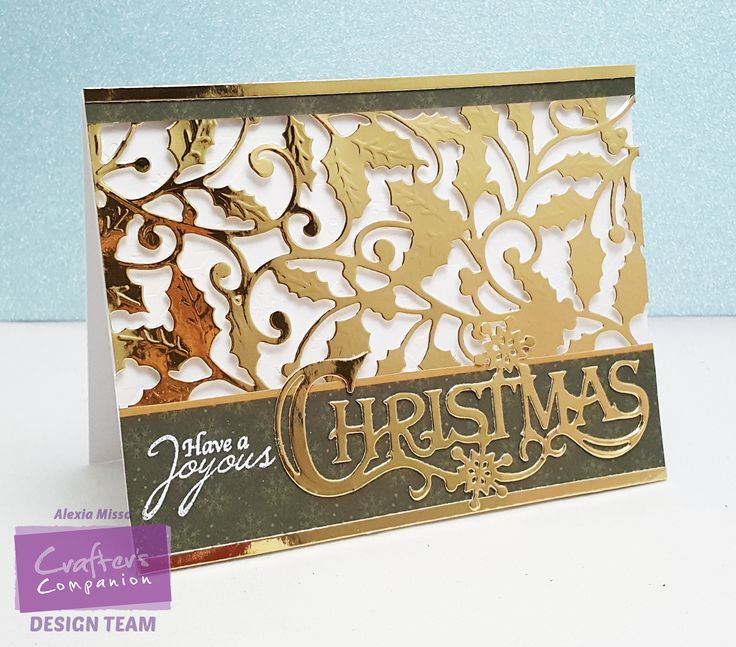 Alexia Misso WM - No Tutorial  Supplies: (Using Sara Signature Traditional Christmas Collection)  - Traditional Christmas 6x6 Paper Pad - Decorative Metal Die (Entwined Holly) - Decorative Metal Die (Festive Greeting) - A4 Luxuxry Mirror Card Pad - A4 Luxury Foiled Card Pad - Peace and Joy Stamp Set  Other Supplies: - Gemini Machine - Crafter's Companion Ultra White Premium Cardstock - White Embossing Powder
